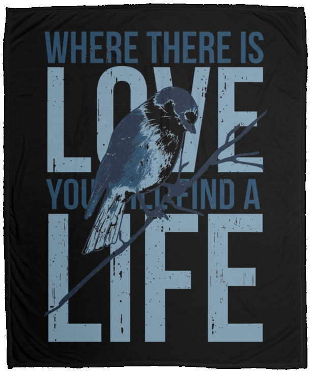 Fleece Blanket Love Quotes With Bird