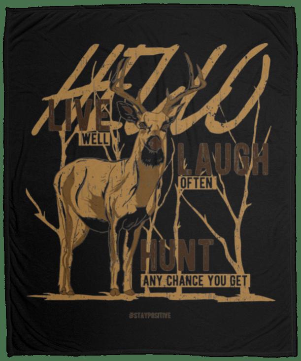 Wild Deer With Slogan Fleece Blanket
